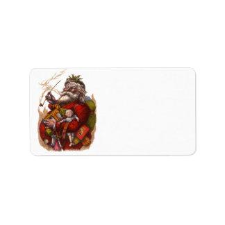 Vintage Christmas Victorian Santa Claus Pipe Toys Custom Address Label