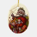 Vintage Christmas, Victorian Santa Claus Pipe Toys Ornament