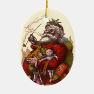 Vintage Christmas Victorian Santa Claus Pipe Toys Ornament