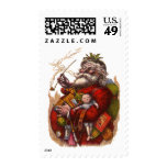 Vintage Christmas, Victorian Santa Claus Pipe Toys Postage Stamps