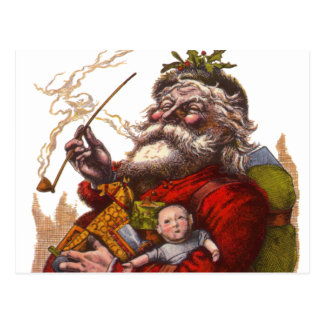 Vintage Christmas, Victorian Santa Claus Pipe Toys Post Card