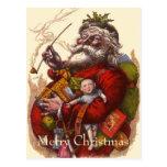Vintage Christmas, Victorian Santa Claus Pipe Toys Postcards