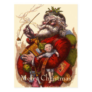Vintage Christmas Victorian Santa Claus Pipe Toys Postcards