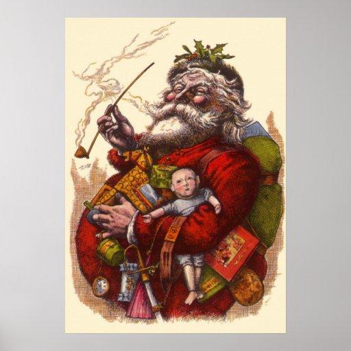 Vintage Christmas, Victorian Santa Claus Pipe Toys Print