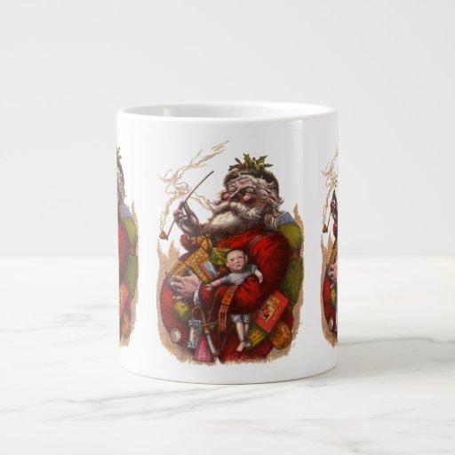 Vintage Christmas, Victorian Santa Claus Pipe Toys Jumbo Mugs