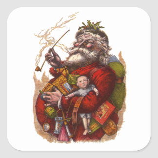 Vintage Christmas, Victorian Santa Claus Pipe Toys Square Sticker