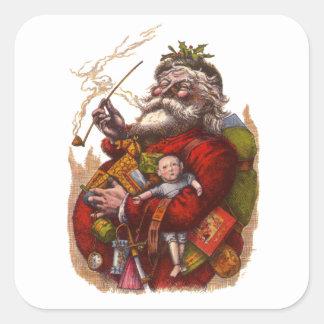 Vintage Christmas Victorian Santa Claus Pipe Toys Sticker