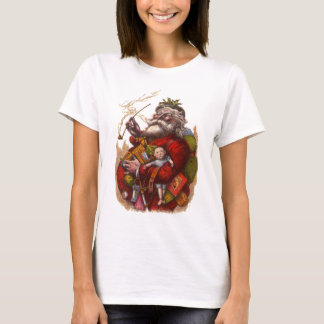 Vintage Christmas, Victorian Santa Claus Pipe Toys T-Shirt