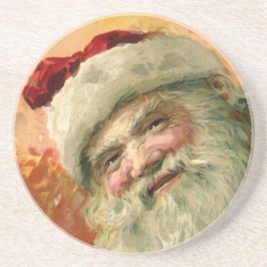 Vintage Christmas, Victorian Santa Claus Portrait Drink Coaster
