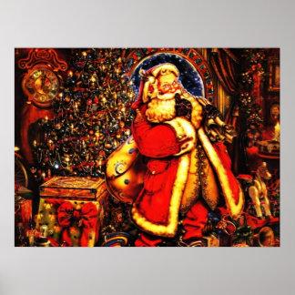 Vintage Christmas Victorian Santa Claus Poster