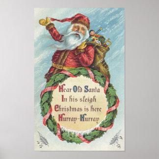 Vintage Christmas, Victorian Santa Claus Posters