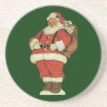 Vintage Christmas, Victorian Santa Claus Toys Drink Coasters