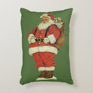 Vintage Christmas, Victorian Santa Claus with Toys Accent Pillow