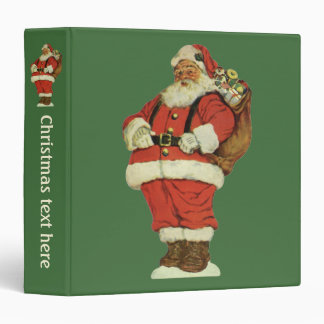 Vintage Christmas, Victorian Santa Claus with Toys Vinyl Binders