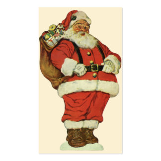 Vintage Christmas, Victorian Santa Claus with Toys Double-Sided Standard Business Cards (Pack Of 100)