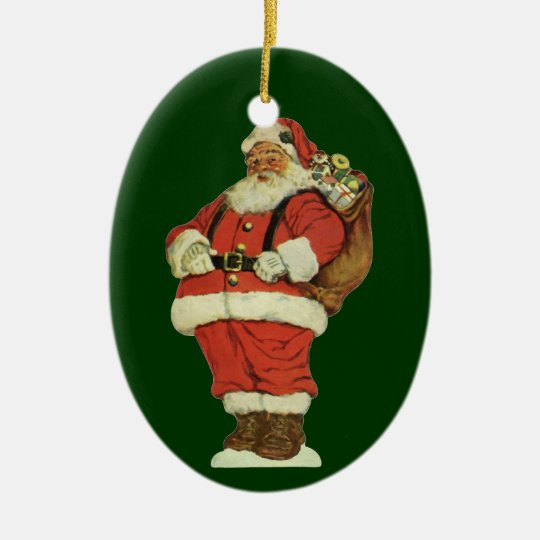 Vintage Christmas, Victorian Santa Claus with Toys Ceramic Ornament