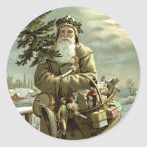 Vintage Christmas, Victorian Santa Claus with Toys Classic Round Sticker