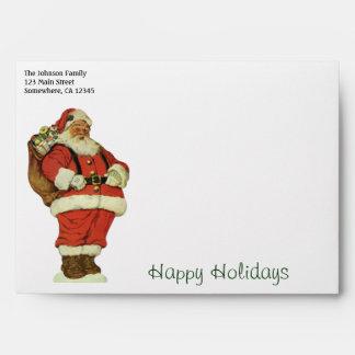 Vintage Christmas, Victorian Santa Claus with Toys Envelope