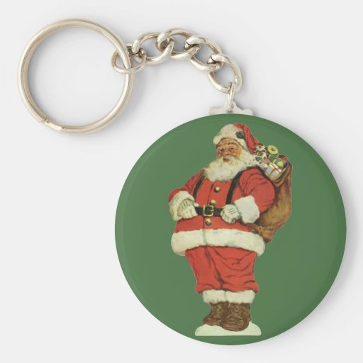 Vintage Christmas, Victorian Santa Claus with Toys Basic Round Button Keychain