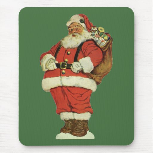 Vintage Christmas, Victorian Santa Claus with Toys Mouse Pad