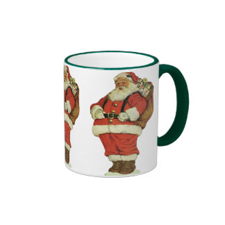 Vintage Christmas, Victorian Santa Claus with Toys Ringer Coffee Mug