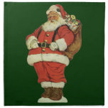 Vintage Christmas, Victorian Santa Claus with Toys Printed Napkins