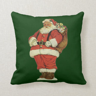 Vintage Christmas, Victorian Santa Claus with Toys Throw Pillow