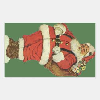 Vintage Christmas, Victorian Santa Claus with Toys Rectangular Sticker