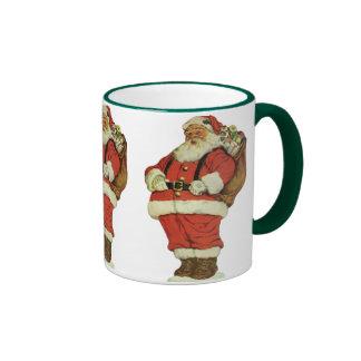 Vintage Christmas, Victorian Santa Claus with Toys Ringer Mug