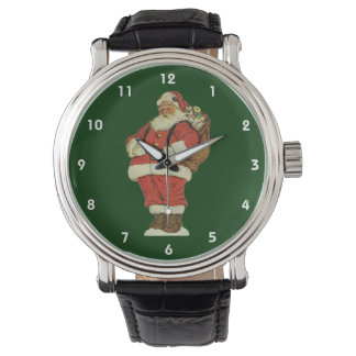 Vintage Christmas, Victorian Santa Claus with Toys Wrist Watch