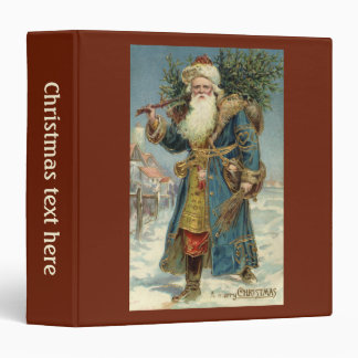 Vintage Christmas, Victorian Santa Claus with Tree 3 Ring Binder