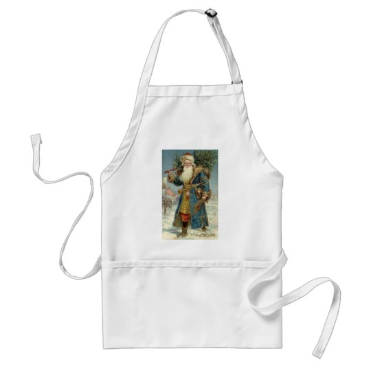 Vintage Christmas, Victorian Santa Claus with Tree Adult Apron
