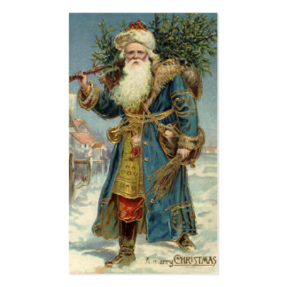 Vintage Christmas, Victorian Santa Claus with Tree Double-Sided Standard Business Cards (Pack Of 100)