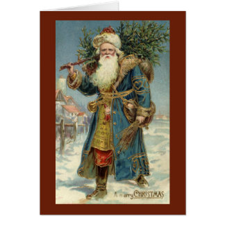 Vintage Christmas, Victorian Santa Claus with Tree Card