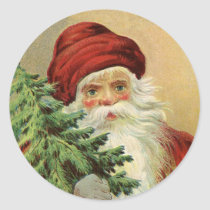 Vintage Christmas, Victorian Santa Claus with Tree Classic Round Sticker