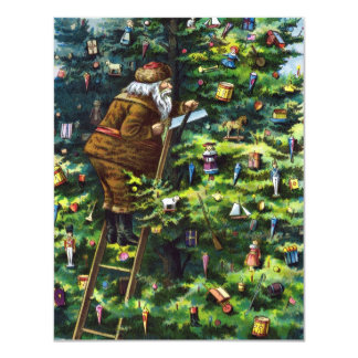 Vintage Christmas, Victorian Santa Claus with Tree 4.25x5.5 Paper Invitation Card