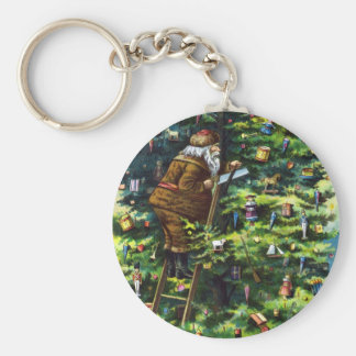 Vintage Christmas, Victorian Santa Claus with Tree Key Chains