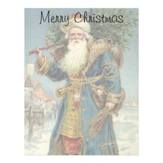 Vintage Christmas, Victorian Santa Claus with Tree Letterhead