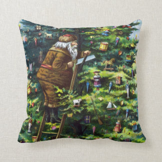 Vintage Christmas Victorian Santa Claus with Tree Pillow