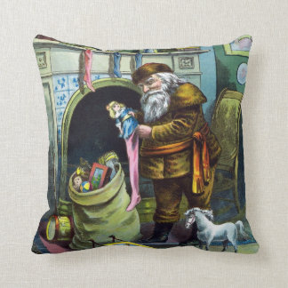 Vintage Christmas Victorian Santa Claus with Tree Throw Pillow