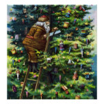 Vintage Christmas, Victorian Santa Claus with Tree Posters