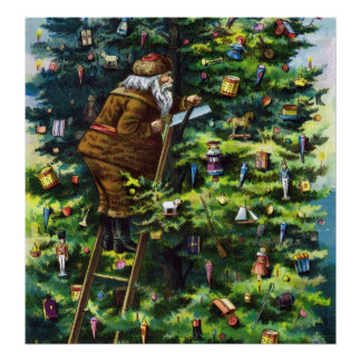Vintage Christmas, Victorian Santa Claus with Tree Poster