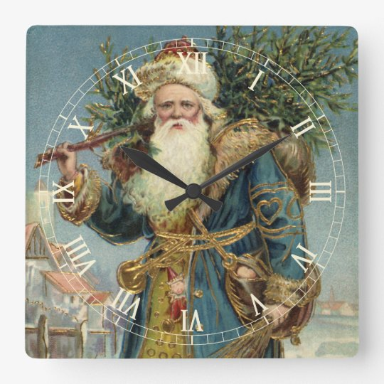 Vintage Christmas, Victorian Santa Claus with Tree Square Wall Clock