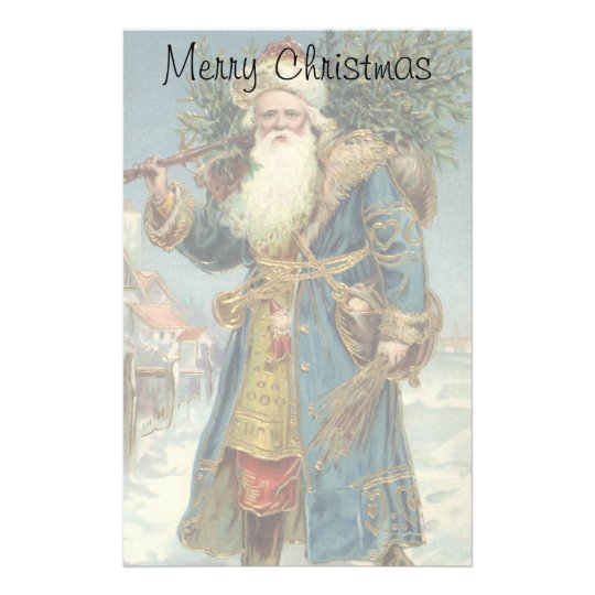 Vintage Christmas, Victorian Santa Claus with Tree Stationery