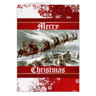 Vintage Christmas Victorian Santa Reindeer Sleigh Card