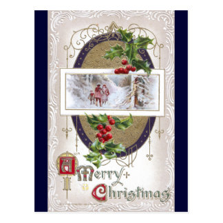 Vintage Christmas Vignette with Holly Postcard