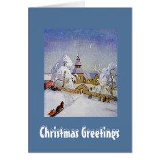 Vintage Christmas Village Church Scene Card at Zazzle