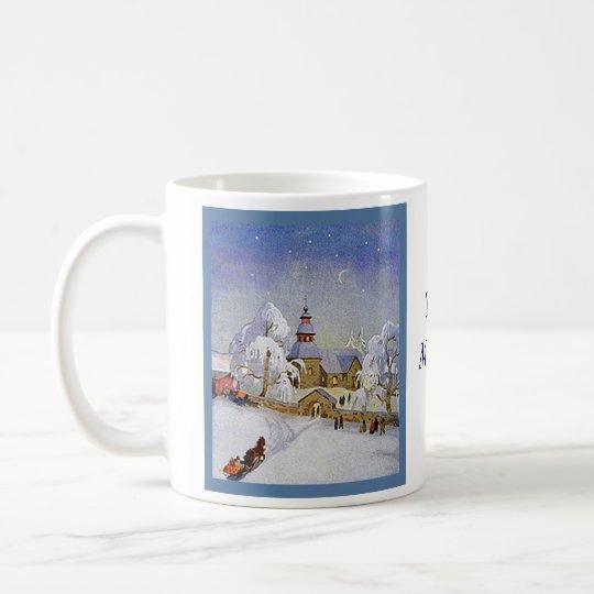 Vintage Christmas Village Church Scene Coffee Mug