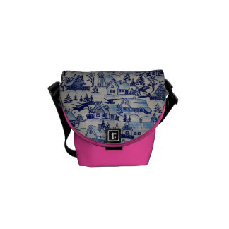 Vintage Christmas Village Girly Pink Merry Xmas Messenger Bag