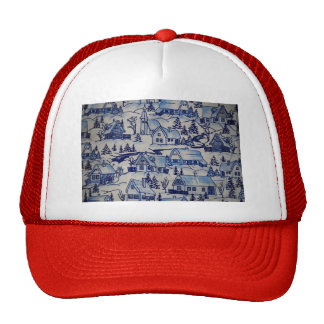 Vintage Christmas Village Merry Cute Xmas Holiday Trucker Hat